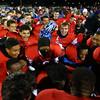 The Wildkats celebrate after Kokomo defeats Westfield 21-19 for the regional championship on Friday, November 13, 2015.<br /> Kelly Lafferty Gerber | Kokomo Tribune