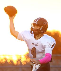 10-2-15 NWHS vs WHS football Western's Jacob Douglass looks for a pass. Kelly Lafferty Gerber | Kokomo Tribune