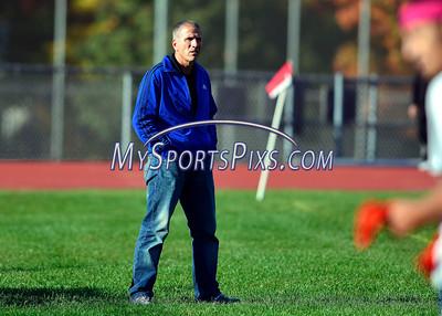 10/16/2015 Mike Orazzi | Staff New Britain boys soccer coach Matt Denecour in Bristol Friday afternoon.