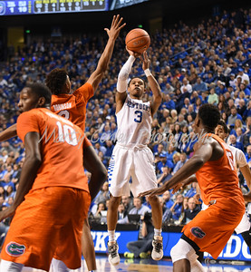 Kentucky's Tyler Ulis pulls up for a jump shot against Florida on Saturday at Rupp Arena.  MARTY CONLEY/ FOR THE DAILY INDEPENDENT