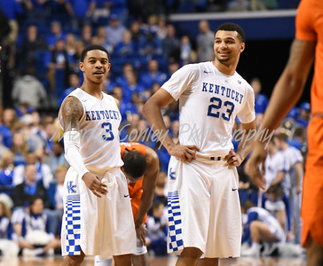 Kentucky's Jamal Murray and Tyler Ulis are all smiles on Saturday against Florida.  MARTY CONLEY/ FOR THE DAILY INDEPENDENT
