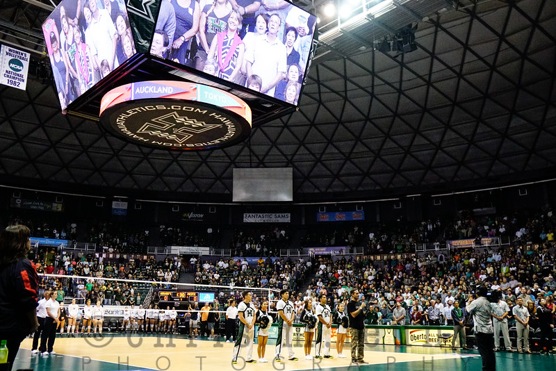 9/2/16 Stan Sheriff Center in Honolulu, HI. WVB HAL Wahine Classic UH vs Pacific.  Big Wave Surfer Makua Rothman sings Hawai'i Pono'i. Image by Chris M. Leung