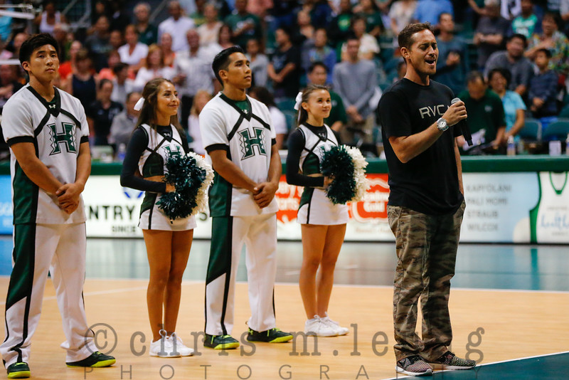 9/2/16 Stan Sheriff Center in Honolulu, HI. WVB HAL Wahine Classic UH vs Pacific. Big Wave Surfer Makua Rothman sings the National Anthem. Image by Chris M. Leung