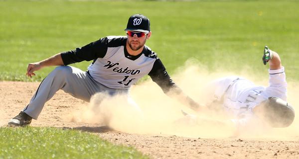 4-16-16<br /> Western vs Tipton baseball<br /> Tipton's Blake Edwards slides safely to second just before Western's Jacob Douglass can make the tag.<br /> Kelly Lafferty Gerber   Kokomo Tribune