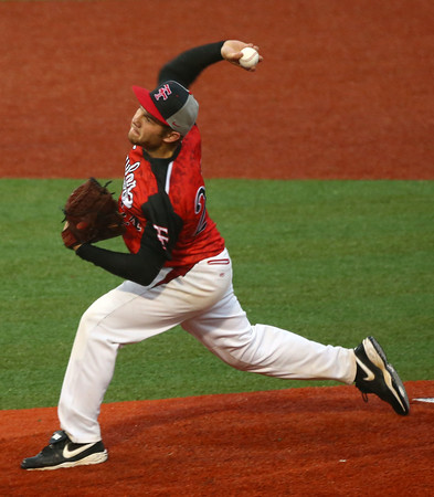 4-6-16<br /> Taylor vs Alexandria baseball<br /> Taylor's Cole Schroeder pitches.<br /> Kelly Lafferty Gerber | Kokomo Tribune