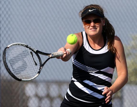 4-22-16<br /> Western vs Eastern girls tennis<br /> Western 3 singles Danielle Pate<br /> Kelly Lafferty Gerber | Kokomo Tribune