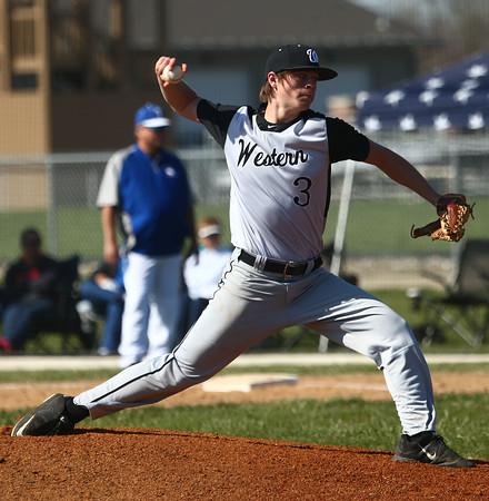 4-16-16<br /> Western vs Tipton baseball<br /> Western's Ashton Guyer pitches.<br /> Kelly Lafferty Gerber | Kokomo Tribune