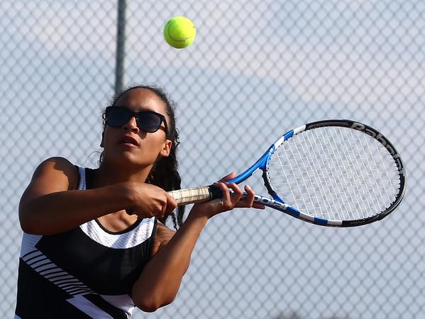 4-22-16<br /> Western vs Eastern girls tennis<br /> Western 1 doubles Maddie Greer<br /> Kelly Lafferty Gerber | Kokomo Tribune