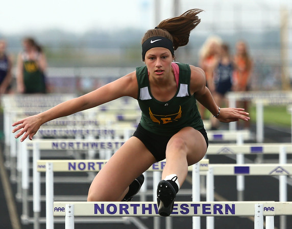 4-26-16<br /> Northwestern Relays<br /> Eastern's Arienna Ewing in the shuttle hurdle relay.<br /> Kelly Lafferty Gerber | Kokomo Tribune