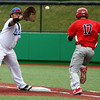 4-20-16<br /> Kokomo vs Logansport baseball<br /> Quamielle Belt catches the throw to first for an out for Logansport's Justin Schrock.<br /> Kelly Lafferty Gerber | Kokomo Tribune