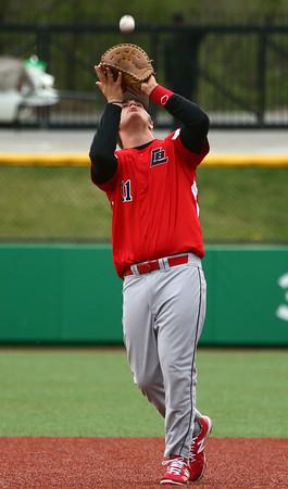 4-20-16<br /> Kokomo vs Logansport baseball<br /> Logansport's Jared Ehase catches the ball for an out.<br /> Kelly Lafferty Gerber | Kokomo Tribune