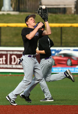 4-19-16<br /> Northwestern vs Western baseball<br /> Northwestern's Quinlan Armstrong makes the catch for an out.<br /> Kelly Lafferty Gerber   Kokomo Tribune