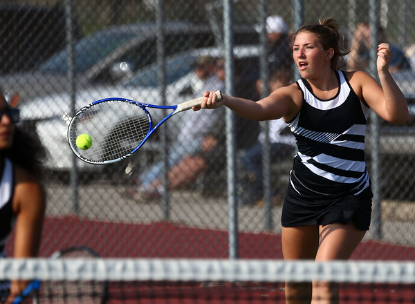 4-22-16<br /> Western vs Eastern girls tennis<br /> Western 1 doubles Tara Hellriegel<br /> Kelly Lafferty Gerber | Kokomo Tribune