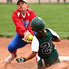 4-27-16<br /> Kokomo softball<br /> Pendleton Heights' Jayden Brown gets to second safely before Cathy Skaggs can tag her out.<br /> Kelly Lafferty Gerber | Kokomo Tribune