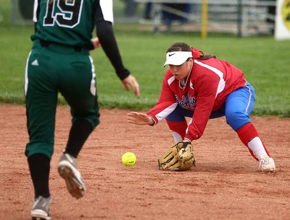 4-27-16<br /> Kokomo softball<br /> Cathy Skaggs grabs the ball and gets Pendleton Heights' Jade Mollenkopf out at second base.<br /> Kelly Lafferty Gerber | Kokomo Tribune