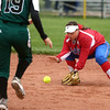 4-27-16<br /> Kokomo softball<br /> Cathy Skaggs grabs the ball and gets Pendleton Heights' Jade Mollenkopf out at second base.<br /> Kelly Lafferty Gerber | Kokomo Tribune