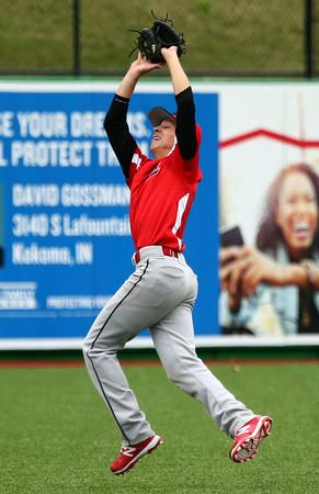4-20-16<br /> Kokomo vs Logansport baseball<br /> Logansport's Wes Bennett catches the ball for an out.<br /> Kelly Lafferty Gerber   Kokomo Tribune