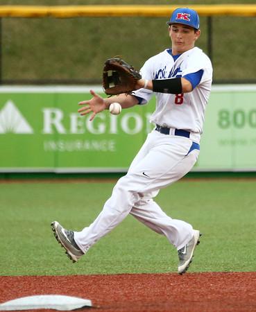 4-20-16<br /> Kokomo vs Logansport baseball<br /> Kokomo's Noah Hurlock catches a ball that bounced.<br /> Kelly Lafferty Gerber   Kokomo Tribune