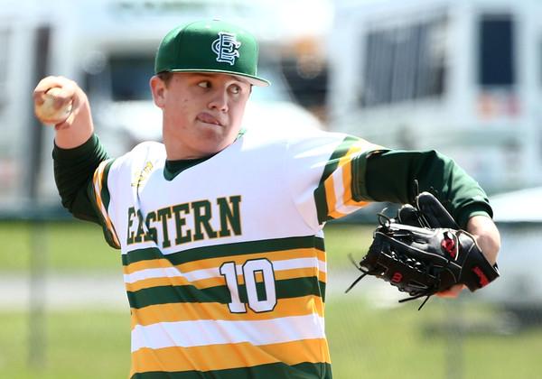 4-23-16<br /> Eastern vs Tri Central baseball<br /> Eastern's Logan Smith pitches.<br /> Kelly Lafferty Gerber   Kokomo Tribune