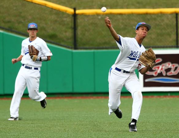 4-20-16<br /> Kokomo vs Logansport baseball<br /> Kokomo's Perry McCullum makes the throw to the infield looking to get an out.<br /> Kelly Lafferty Gerber   Kokomo Tribune