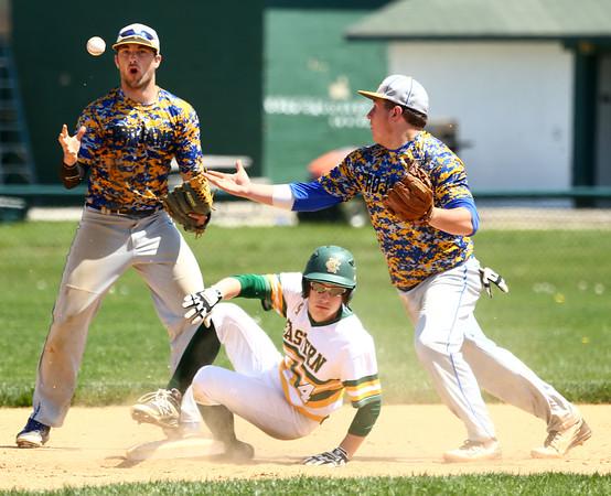 4-23-16<br /> Eastern vs Tri Central baseball<br /> Eastern's Blake Vogl gets to second safely after Tri Central bobbles the ball.<br /> Kelly Lafferty Gerber   Kokomo Tribune