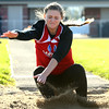 4-12-16<br /> Kokomo, Western, Tipton track and field meet<br /> Kokomo's Taylor Coram in the long jump.<br /> Kelly Lafferty Gerber | Kokomo Tribune