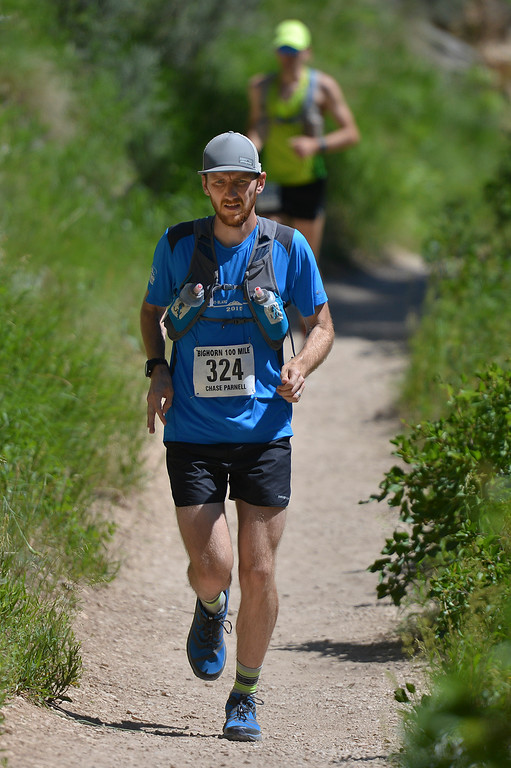 Justin Sheely | The Sheridan Press<br /> Chase Parnell of Bozeman, Montana, leads the pack at the start of the 100-mile run during the annual Bighorn Mountain Wild and Scenic Trail Run Friday at Tongue River Canyon.