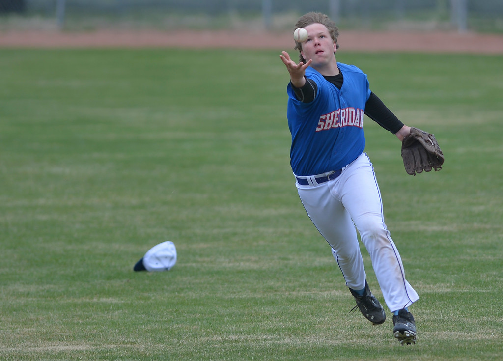 Justin Sheely | The Sheridan Press<br /> Jets player Seth Mulinax retrieves an outfield ball during the afternoon game against the Billings Halos Saturday at Thorne-Rider Park. The Jets won both games, 12-4, 9-8.