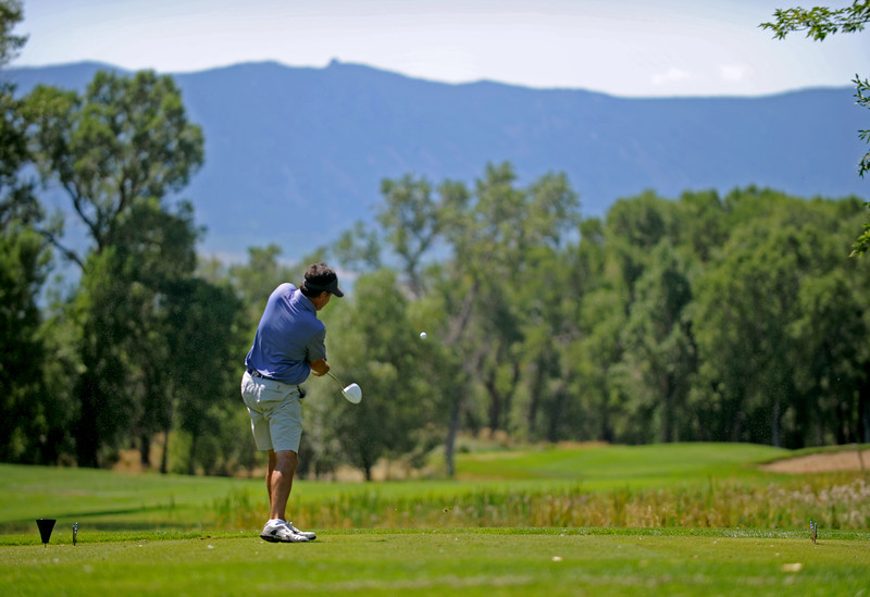 Mike Pruden | The Sheridan Press<br /> Jim Corn blasts a drive during the first round of the Powder Horn Club Championship on Saturday, July 30.