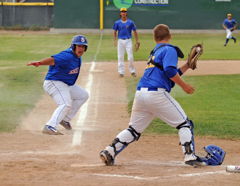 Sheridan's Jaxon Parker, left, gets caught in a rundown between third base and home plate on Saturday, July 2 at Thorne-Rider Stadium. The Jets committed six errors on the day and were swept by Cody in a doubleheader. Mike Pruden | The Sheridan Press