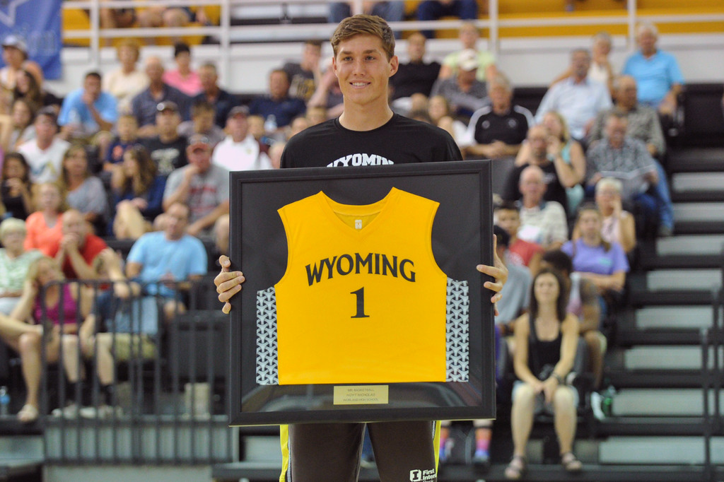 Worland's Hoyt Nicholas was named 2016 Wyoming Mr. Basketball during the Wyoming-Montana All-Star Games on Friday, June 10 at the Bruce Hoffman Golden Dome. Nicholas will continue his career at Black Hills State University. Mike Pruden | The Sheridan Press