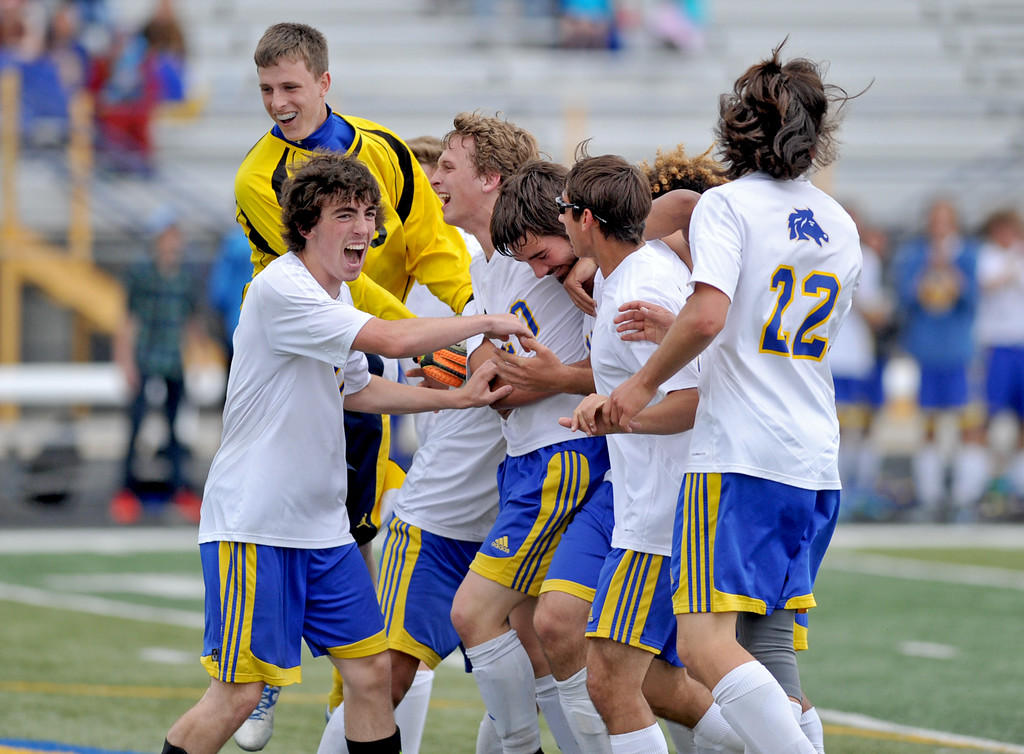 The Sheridan Broncs celebrate what they assumed was a game-winning goal by AJ Kassen in the 80th minute on Saturday, May 7 at Homer Scott Field. Kassen's goal was overturned, and the Broncs ended up tying Cheyenne East 3-3. Mike Pruden | The Sheridan Press