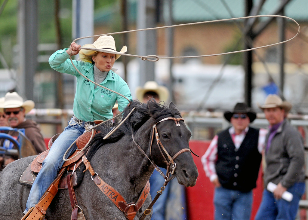 Makenna Balkenbush swings her rope during the breakaway roping competition at the Sheridan County high school rodeo on Monday, May 30 at the Sheridan County Fairgrounds. Mike Pruden | The Sheridan Press