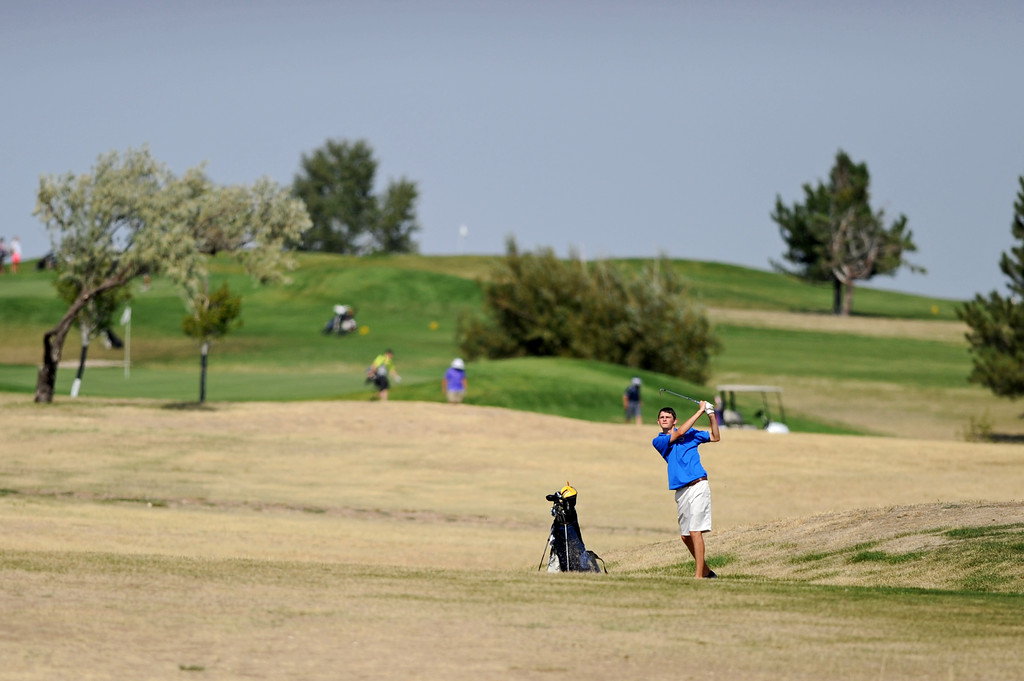 Drew Mavrakis hits his second shot on the 12th hold at Kendrick Golf Course during the Scoop Shovelin Invitational on Thursday, Sept. 1. Mike Pruden | The Sheridan Press