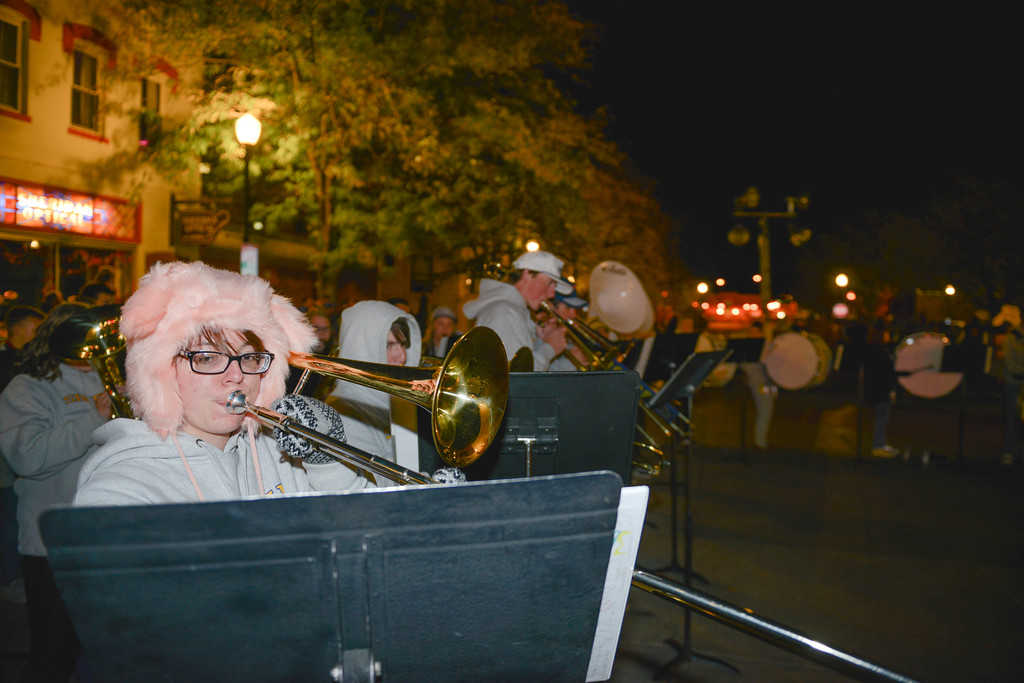 Justin Sheely | The Sheridan Press<br /> Elaine Hallam plays with the pep band during Sheridan High School's Homecoming downtown Pep Rally Thursday night on Grinnell Plaza. The Sheridan Broncs play Cheyenne Central on senior night Friday at 6 p.m. at Homer Scott Field.