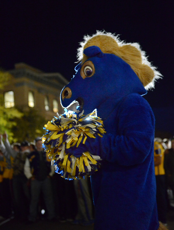 Justin Sheely | The Sheridan Press<br /> The Sheridan Broncs' mascot is seen during Sheridan High School's Homecoming downtown Pep Rally Thursday night on Grinnell Plaza. The Sheridan Broncs play Cheyenne Central on senior night Friday at 6 p.m. at Homer Scott Field.