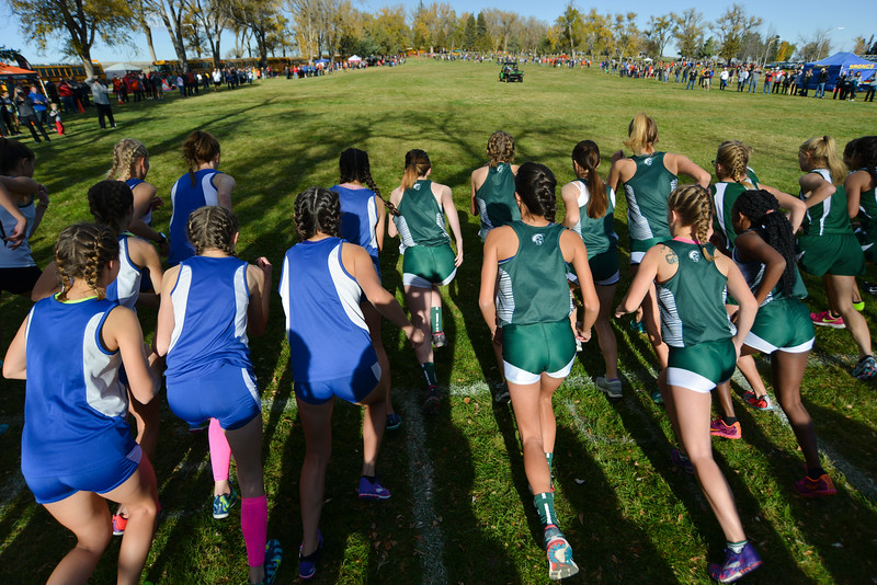 Justin Sheely | The Sheridan Press<br /> The runners take off at the sound of the starter's gun for the class 4A girls State Cross-Country Championship Saturday at the Veterans Affairs Medical Campus in Sheridan.
