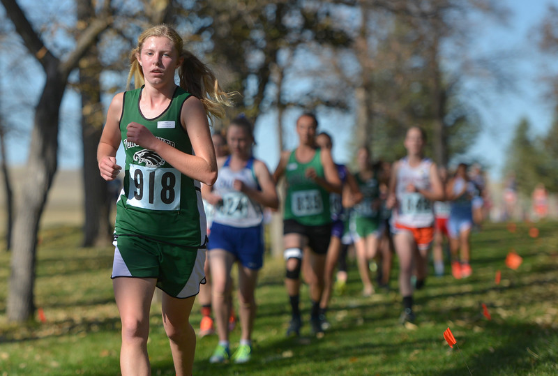 Justin Sheely | The Sheridan Press<br /> Tongue River High School's Chloe Schilling competes during the Class 2A girls State Cross-Country Championship Saturday at the Veterans Affairs Medical Campus in Sheridan.