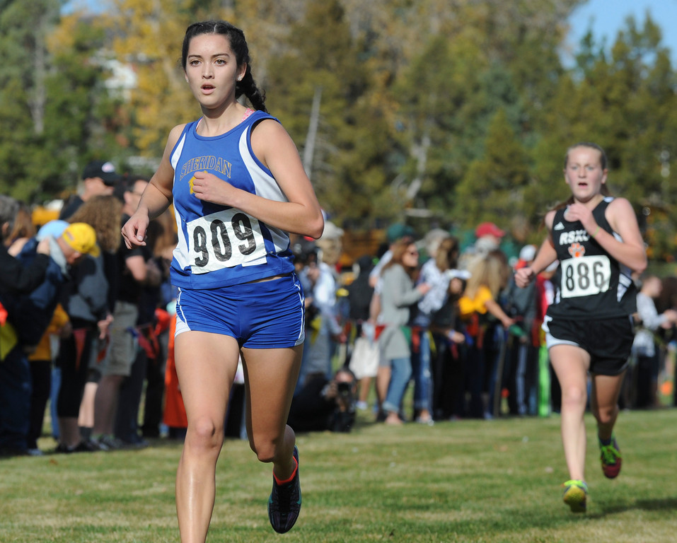Mike Dunn | The Sheridan Press<br /> Sheridan's Xiomara Robinson runs to the finish line during the class 4A girls State Cross-Country Championship Saturday at the Veterans Affairs Medical Campus in Sheridan.