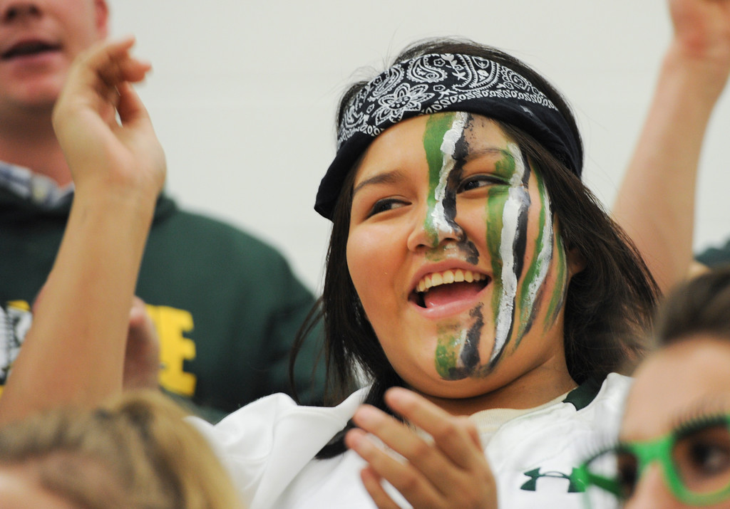 Justin Sheely   The Sheridan Press<br /> Junior student Samantha Demontiney sings the school song during the homecoming pep assembly Thursday at Tongue River High School. TRHS varsity volleyball plays Moorcroft at 4 p.m. and Eagles football plays Lusk at 7 p.m. Friday.