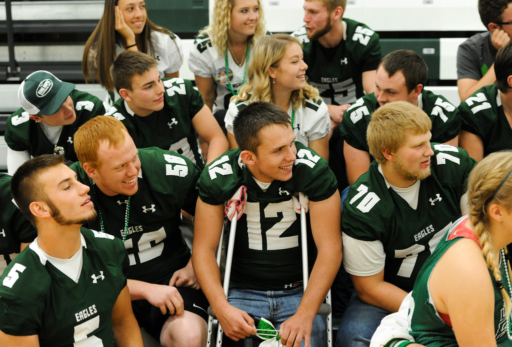 Justin Sheely   The Sheridan Press<br /> Seniors watch with amusement as other students shout their cheer for a class cheer-off during the homecoming pep assembly Thursday at Tongue River High School. TRHS varsity volleyball plays Moorcroft at 4 p.m. and Eagles football plays Lusk at 7 p.m. Friday.