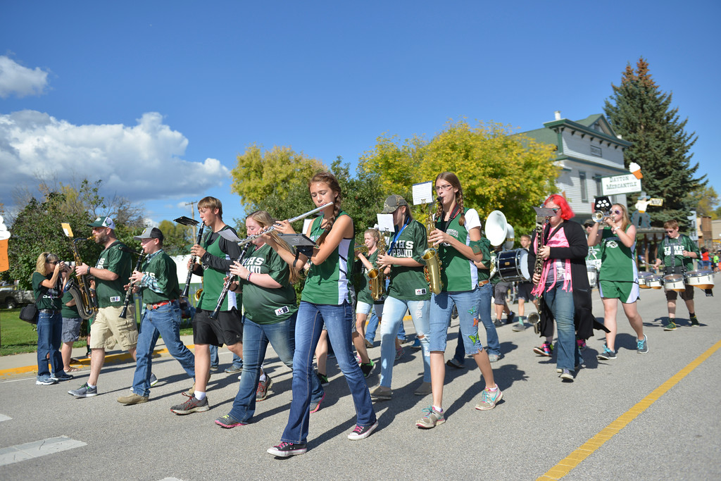 Justin Sheely | The Sheridan Press<br /> Tongue River Middle School and High School band members march during the Tongue River High School Homecoming Parade on Friday in Dayton.