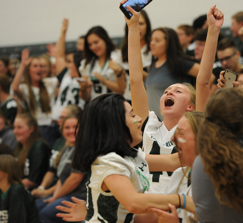 Justin Sheely | The Sheridan Press<br /> Freshman Reagan Mulaney celebrates with her classmates after the feshmen class wins the class cheer-off during the homecoming pep assembly Thursday at Tongue River High School. TRHS varsity volleyball plays Moorcroft at 4 p.m. and Eagles football plays Lusk at 7 p.m. Friday.