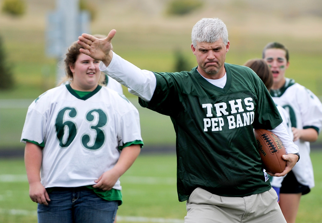 Justin Sheely | The Sheridan Press<br /> Mark Fritz officiates during powderpuff football Thursday at Tongue River High School. TRHS varsity volleyball plays Moorcroft at 4 p.m. and Eagles football plays Lusk at 7 p.m. Friday.