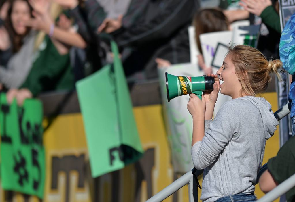 Justin Sheely | The Sheridan Press<br /> Tongue River student Emily Elliot cheers during the Class 1A State Championship Saturday at War Memorial Stadium in Laramie. The Eagles fell to the Hornets 10-7.
