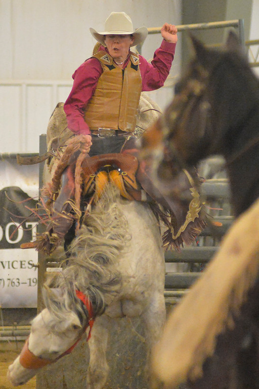 Justin Sheely | The Sheridan Press<br /> Sheridan College Rodeo Athlete Sam Thurston rides saddle bronc during the last practice week of the season Tuesday at the Sheridan College AgriPark. Sheridan College rodeo athletes will be heading to their last rodeo this weekend in Laramie.