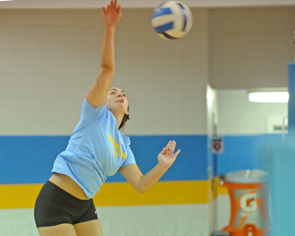 Sheridan College's Dani Potter focuses on a hit during practice on Thursday, August 11 at the Bruce Hoffman Golden Dome. Mike Pruden | The Sheridan Press
