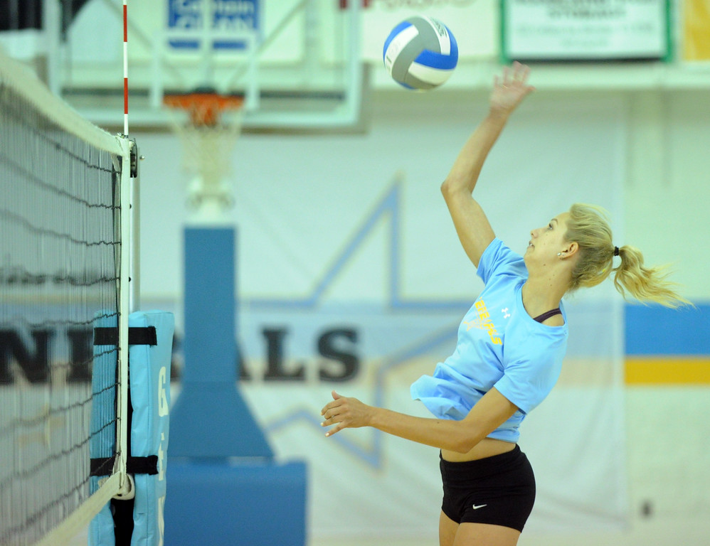 Kiersten Leach jumps for a spike during Sheridan College volleyball practice on Thursday, August 11 at the Bruce Hoffman Golden Dome. Mike Pruden | The Sheridan Press