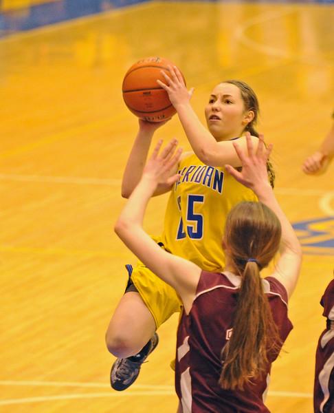 Alli Puuri adjusts her shot in the lane on Saturday, Feb. 20 at Sheridan High School. Mike Pruden   The Sheridan Press