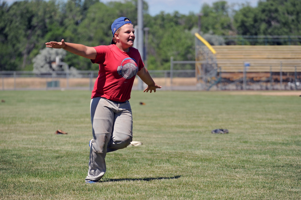 Lukas Dregoiw celebrates a home run as he soars around the bases during a whiffle ball game at the Troopers baseball camp on Thursday, July 7 at Thorne-Rider Stadium. Mike Pruden | The Sheridan Press
